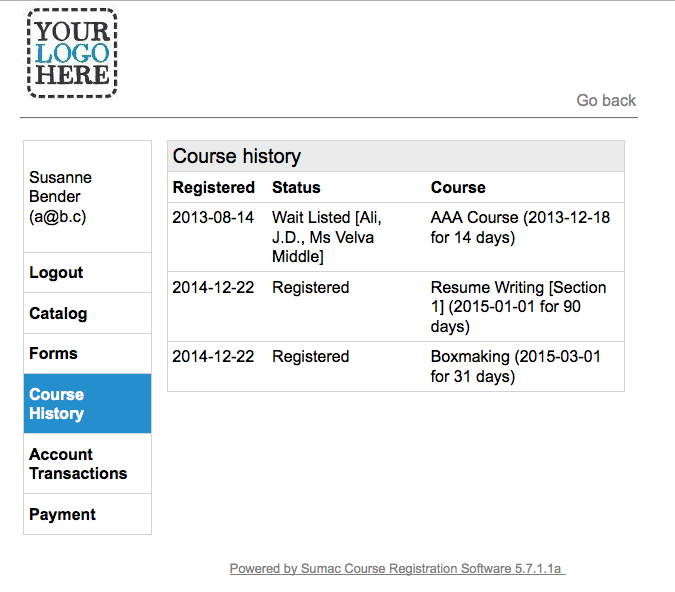 Course Registration software