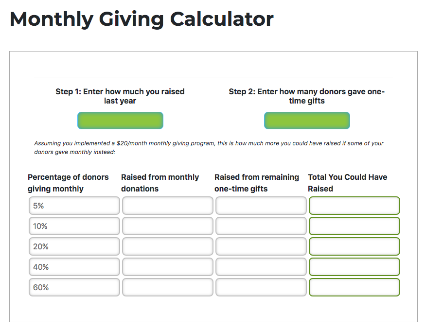 Monthly Giving Calculator