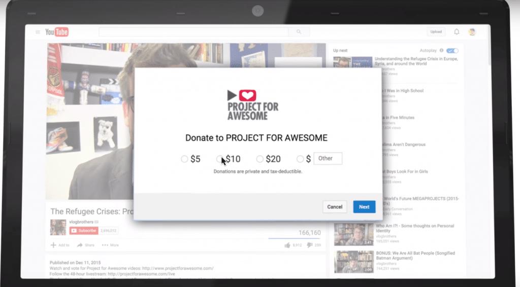 Youtube-donate-button-nonprofit