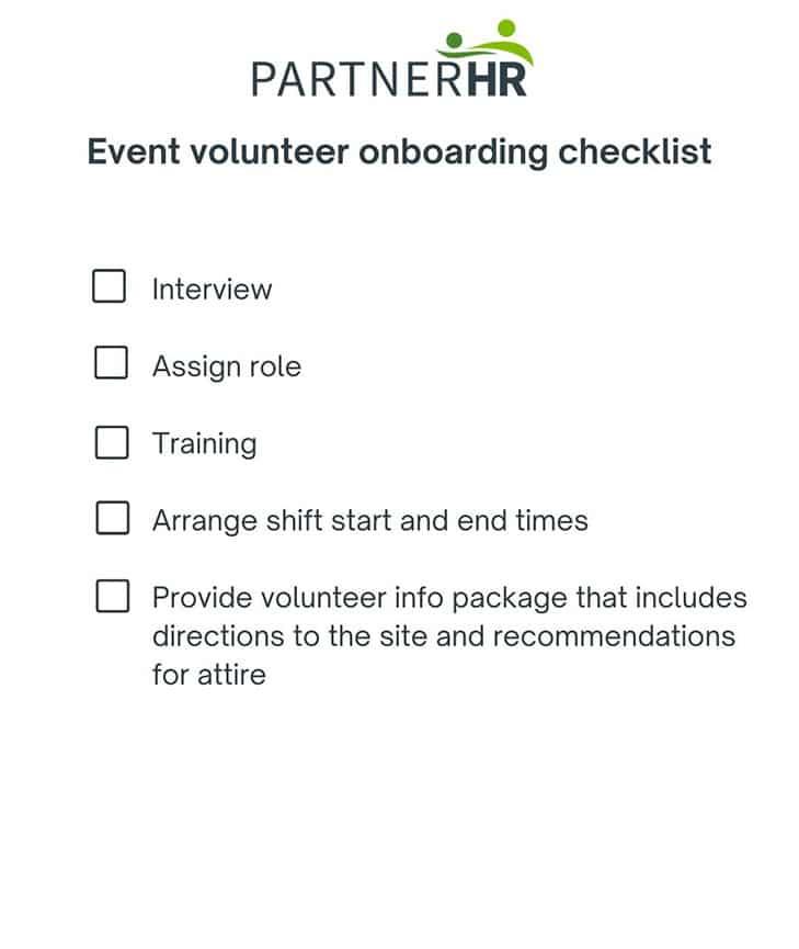 event volunteer onboarding checklist
