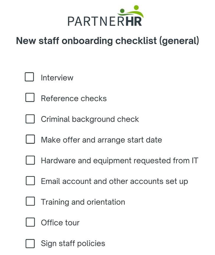 new staff onboarding checklist