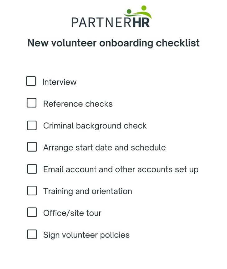 new volunteer onboarding checklist