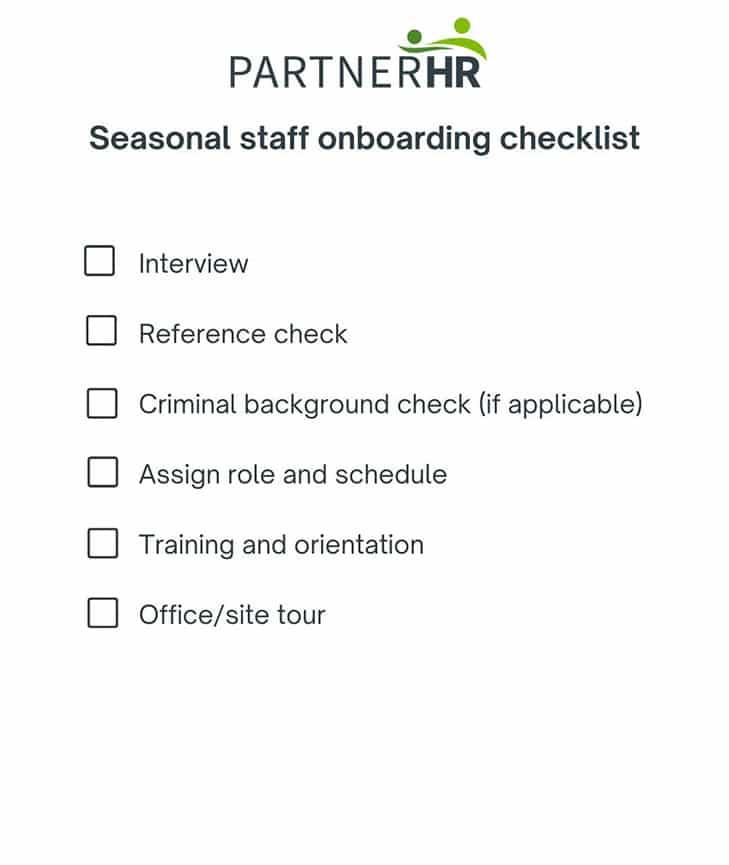 seasonal staff onboarding checklist