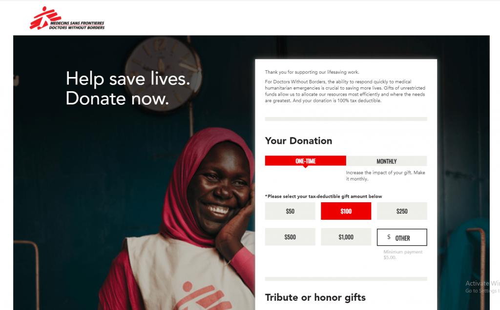 nonprofit website design doctors without borders donation form