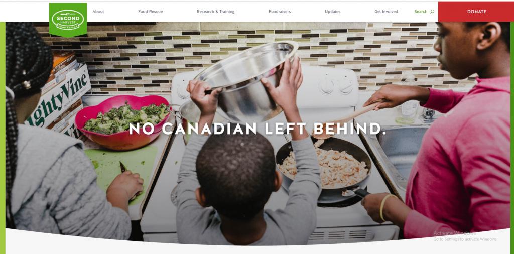 nonprofit website design second harvest food donation button