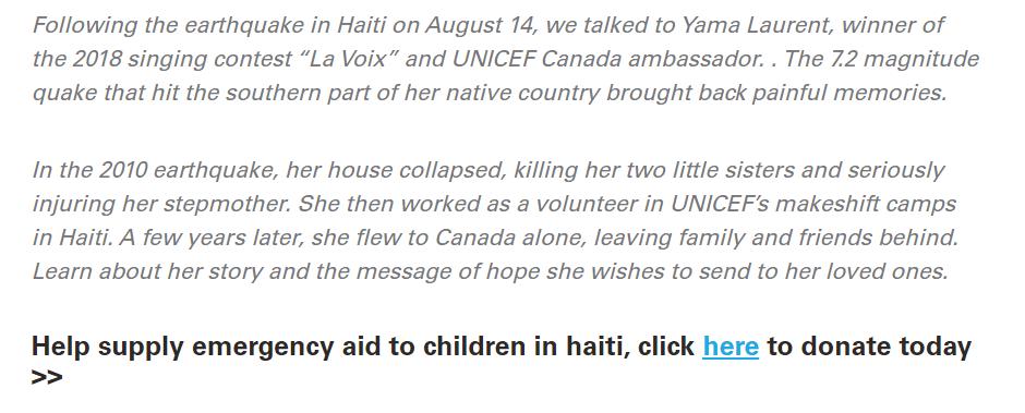 nonprofit website design UNICEF blogpost earthquake in Haiti
