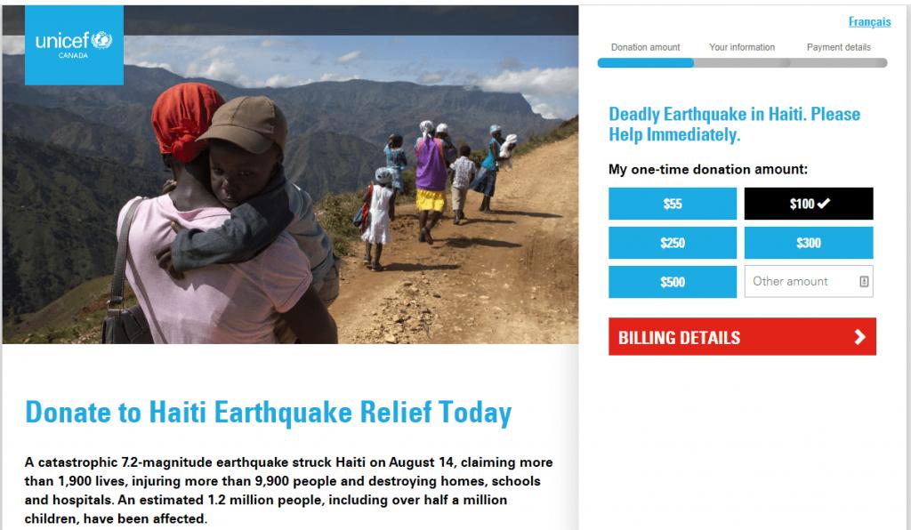 nonprofit website design UNICEF nonprofit website and donation form
